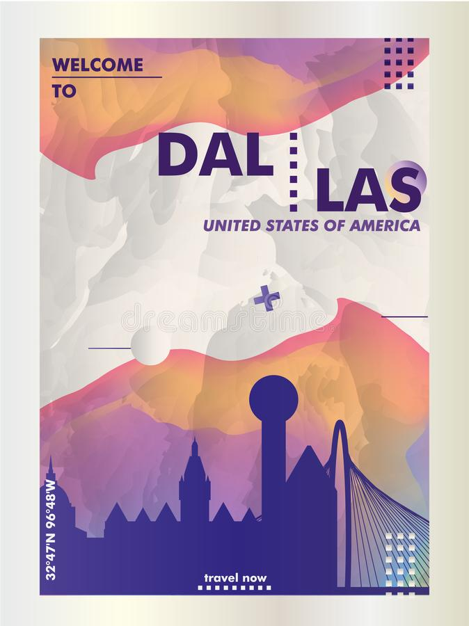 Dallas-Skylinestadt-Steigungsvektor der USA-Vereinigten Staaten von Amerika vektor abbildung