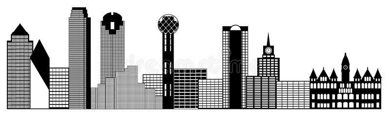 Dallas-Stadt-Skyline-Panorama-Klipp-Kunst lizenzfreie abbildung