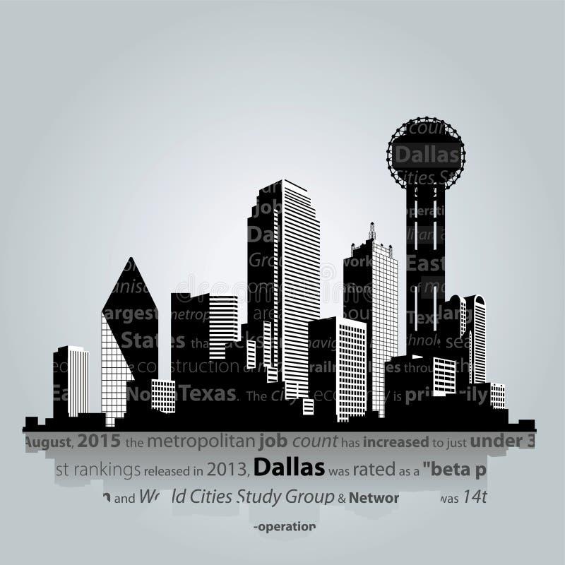 Dallas-Stadtschattenbild Auch im corel abgehobenen Betrag vektor abbildung