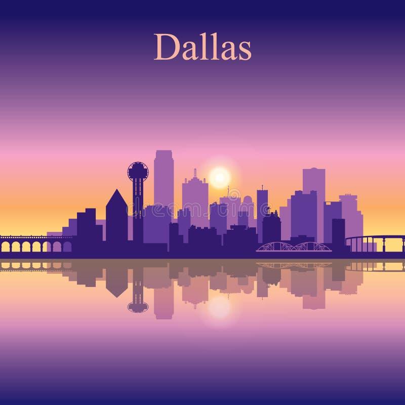Dallas-Stadtskyline-Schattenbildhintergrund stock abbildung