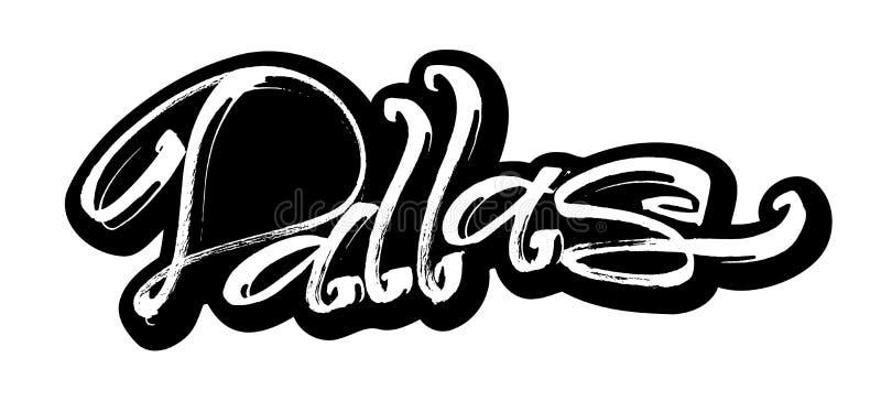 dallas sticker Het moderne Kalligrafiehand Van letters voorzien voor Serigrafiedruk stock illustratie