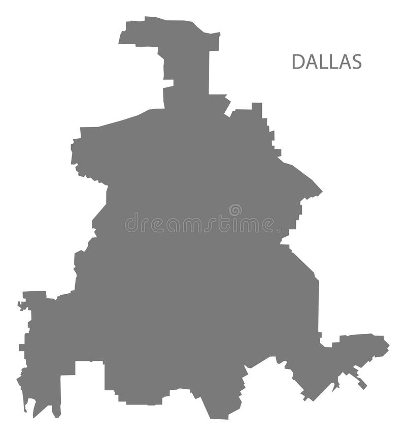 Dallas Texas city map grey illustration silhouette shape vector illustration