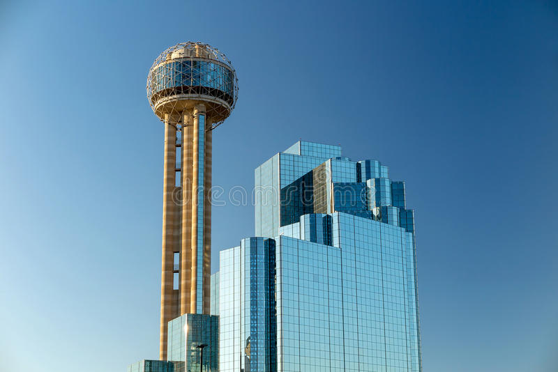 Dallas, Texas cityscape with blue sky, Texas. Reunion Tower in Dallas on September 25, 2014. Reunion Tower is a 561 ft (171 m) observation tower and one of the stock photography