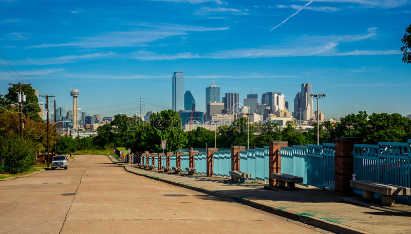 Dallas Texas downtown Metropolis Skyline Cityscape with Reunion Tower and Entire City in view. Dallas Texas downtown Metropolis Skyline Cityscape with Highrises royalty free stock photography