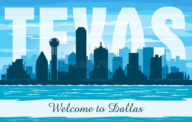 Dallas Texas-het vectorsilhouet van de stadshorizon stock illustratie