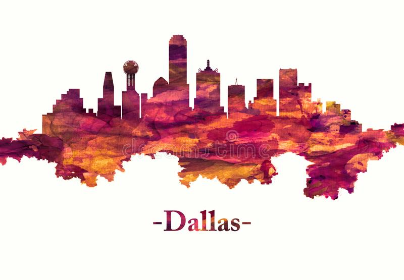 Dallas Texas-horizon in rood vector illustratie