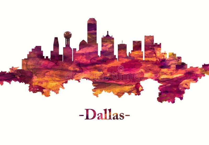 Dallas Texas-horizon in rood vector illustratie