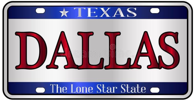 Dallas Texas License Plate stock illustratie