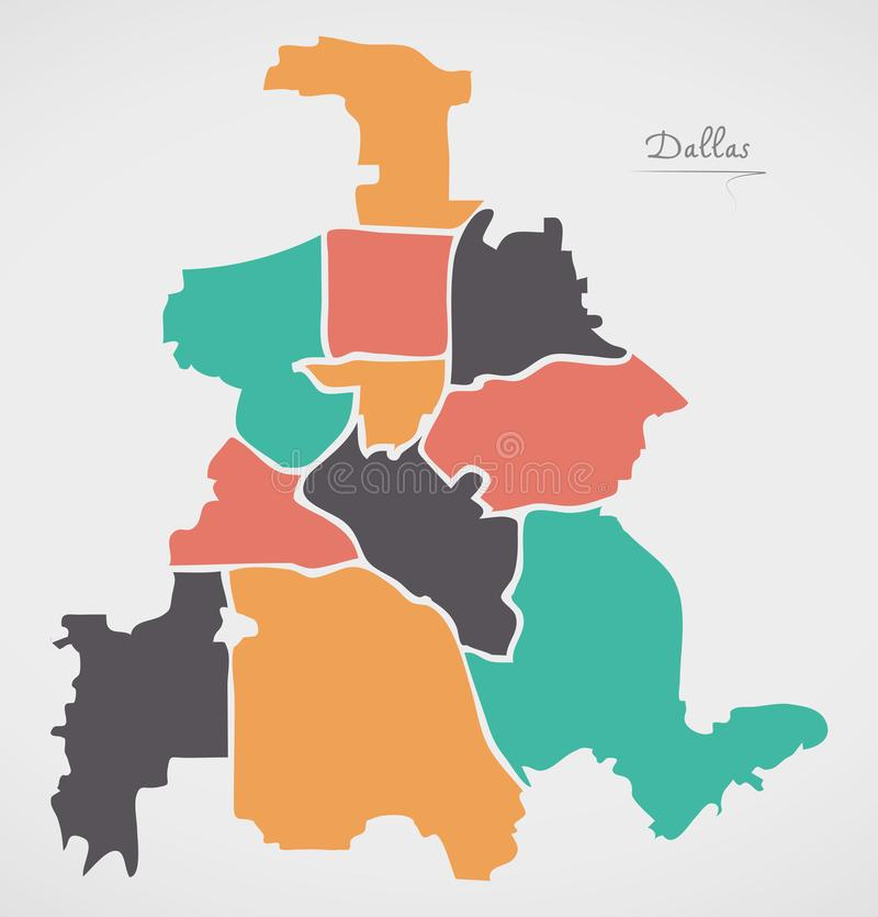 Dallas Texas Map with boroughs and modern round shapes. Illustration royalty free illustration