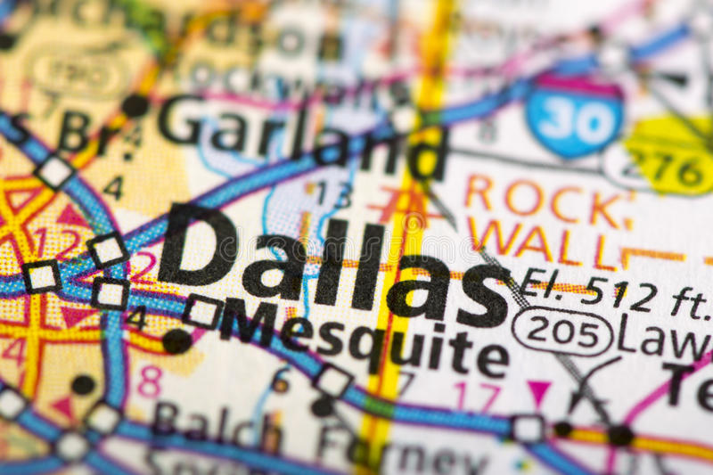 Dallas, Texas on map. Closeup of Dallas, Texas on a political map of the United States royalty free stock photo