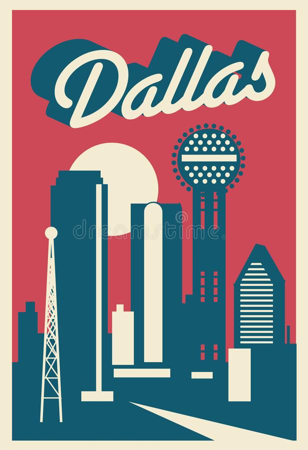 Dallas Texas Postcard illustration stock