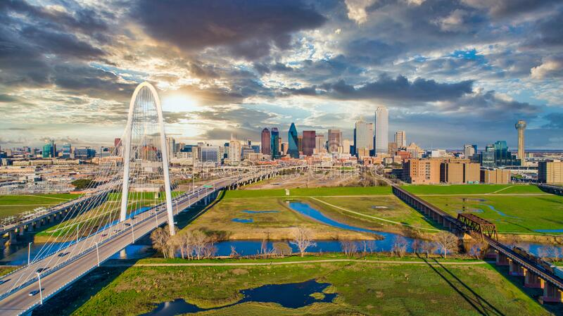 Dallas Texas TX Downtown Drone Skyline Aerial royalty free stock photography