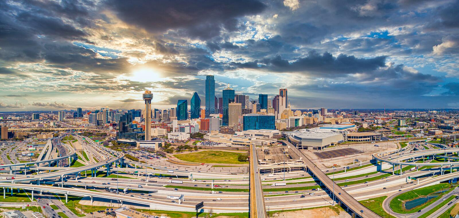Dallas, Texas, USA Downtown Drone Skyline Aerial stock image