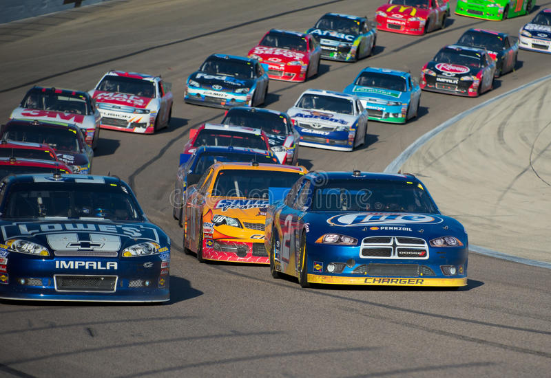 DALLAS, TX - NOVEMBER 04: Nascar Race restart royalty free stock photo