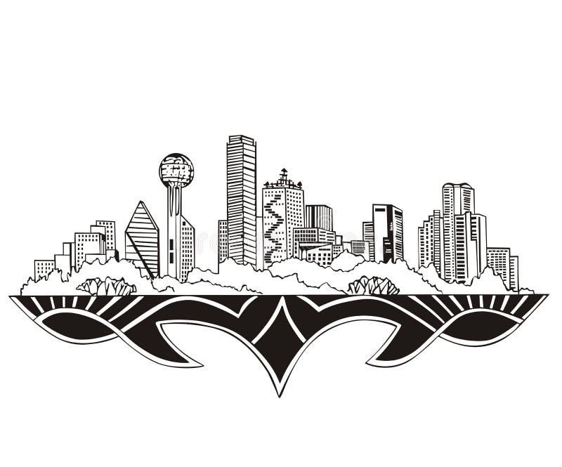 Dallas, TX Skyline stock illustration