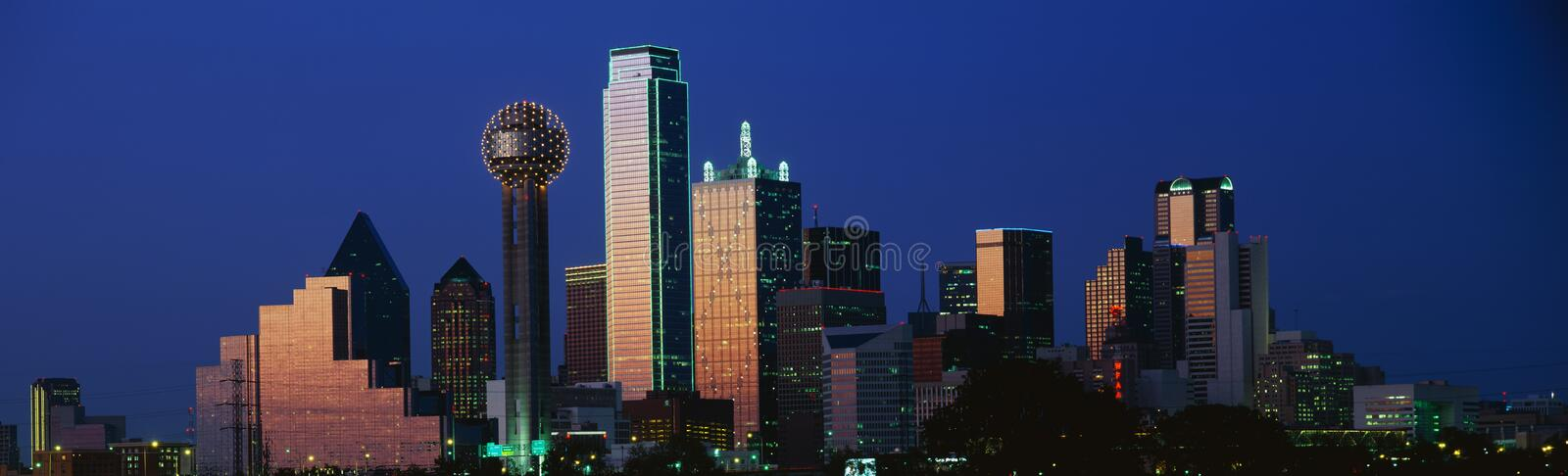 Dallas, TX skyline at dusk stock photography