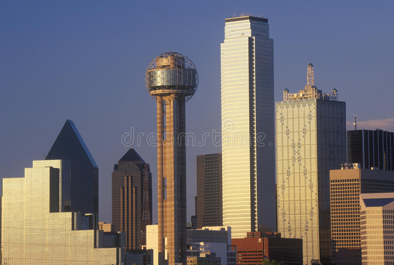 Dallas, TX skyline at sunset with Reunion Tower stock photo