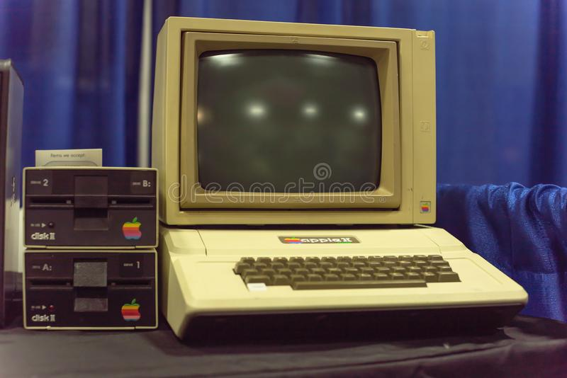 Old Apple II computer system at event exhibition stock images