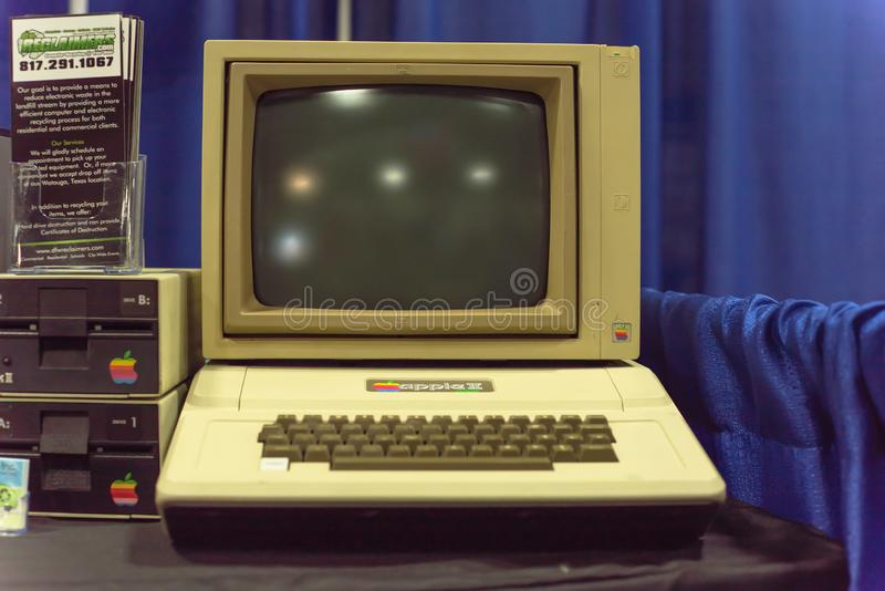 Old Apple II computer system at event exhibition stock photos