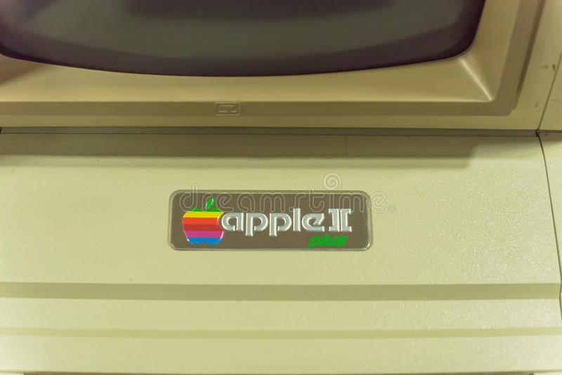 Close-up logo of old Apple II computer. DALLAS, TX, USA-APR 26, 2019: Close-up Apple II logo on foam-molded plastic case. It was the first consumer product sold stock photo
