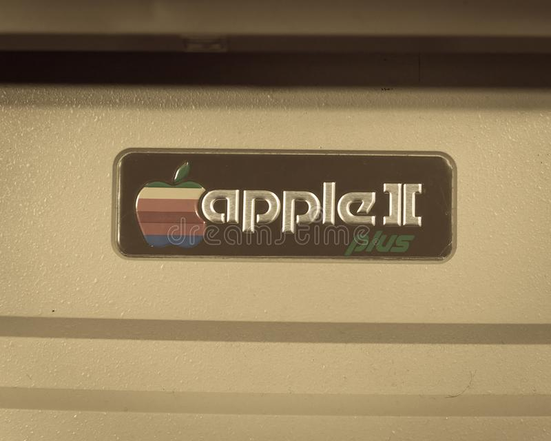Filtered image close-up logo of old Apple II computer stock photography