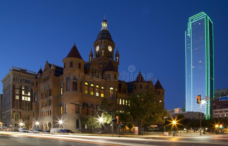 Dallas van de binnenstad bij nacht stock fotografie