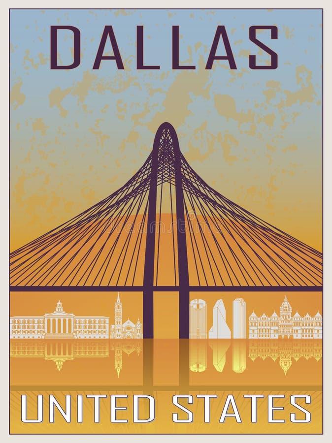 Dallas Vintage Poster lizenzfreie abbildung