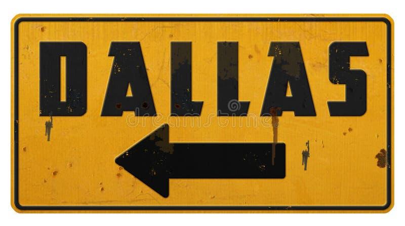 Dallas znaka ulicznego Grunge metalu koloru żółtego strzała obraz royalty free