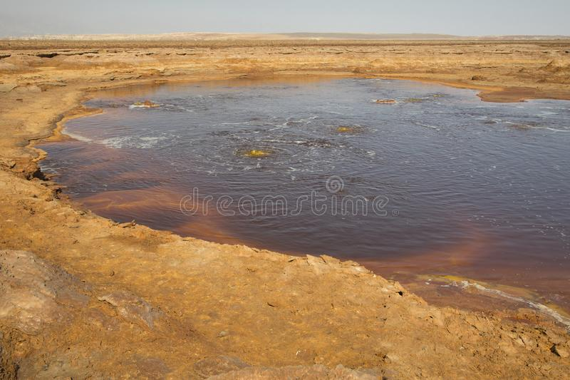 Dallol火山的, Danakil消沉,埃塞俄比亚Petroleum湖 免版税库存图片