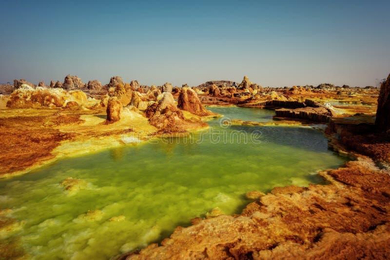 Dallol, dépression de Danakil, Ethiopie L'endroit le plus chaud sur terre image stock