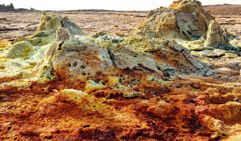 Dallol Danakil fördjupning, Etiopien Det varmmaste stället på jord arkivfoton