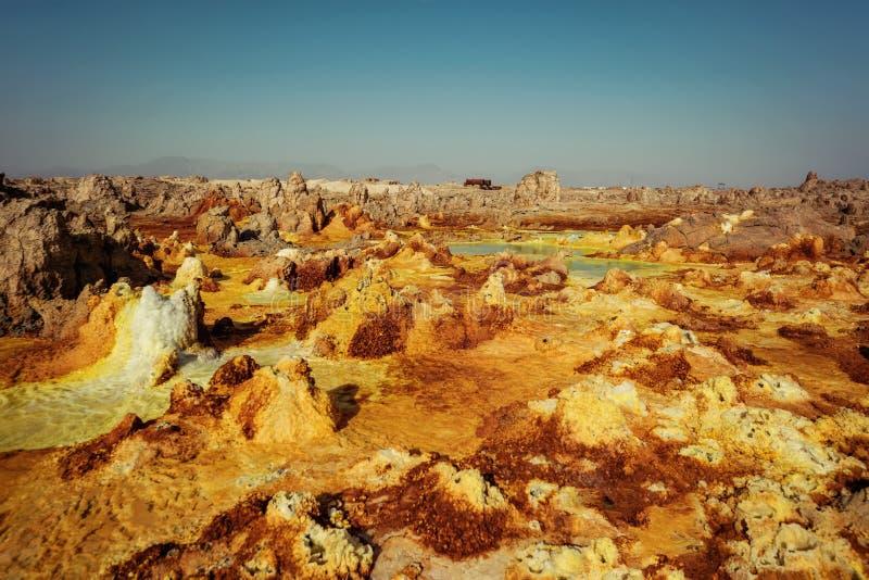 Dallol Danakil fördjupning, Etiopien Det varmmaste stället på jord royaltyfria foton
