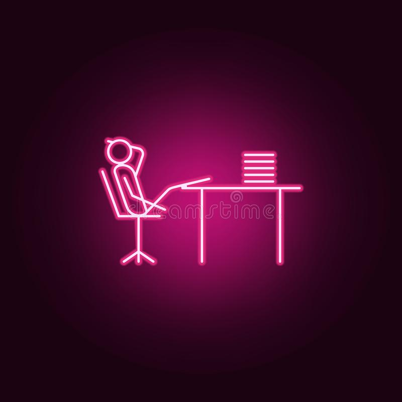 Dally at work outline icon. Elements of Lazy in neon style icons. Simple icon for websites, web design, mobile app, info graphics. On dark gradient background stock illustration
