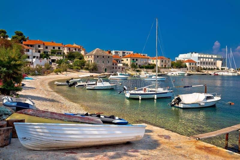 Dalmatian beach in Postira village. Island of Brac, Croatia royalty free stock photos