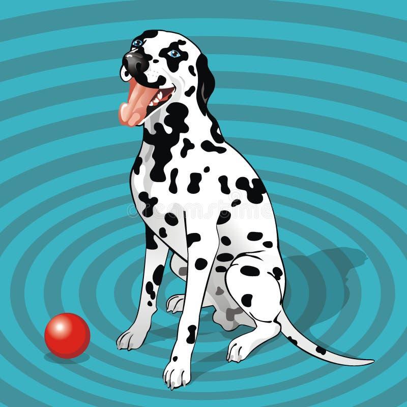 Dalmatian que se sienta con una bola foto de archivo libre de regalías