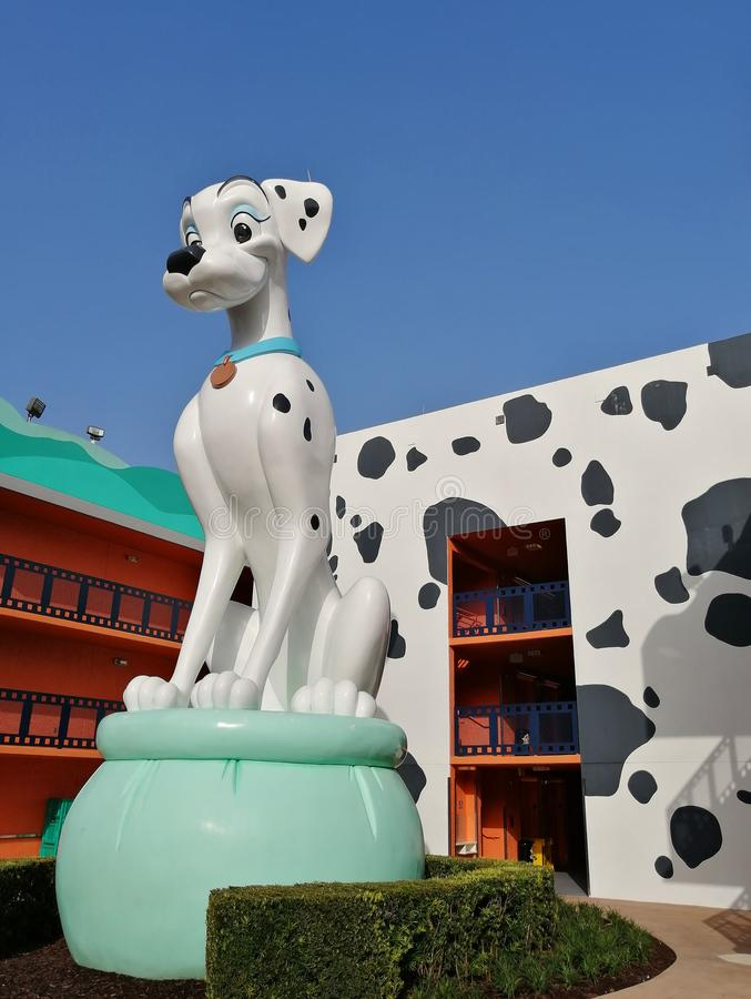 Dalmatian at Disneys All Star Movie Resort. Dalmatian statue at Disney's All Star Movie Resort in Florida stock images