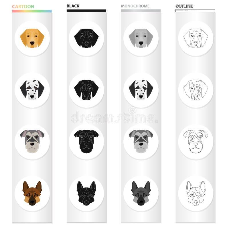 Dalmatiner, Terrier, Schäfer und andere Netzikone in der Karikaturart Hund, Tier, Haus, Ikonen in der Satzsammlung stock abbildung