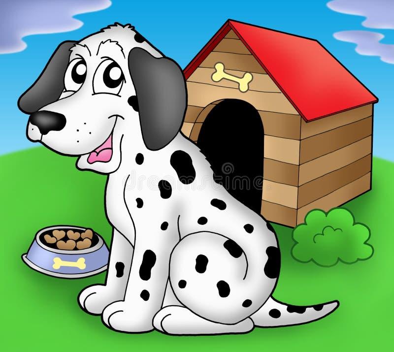 Dalmatinischer Hund vor Hundehütte lizenzfreie abbildung