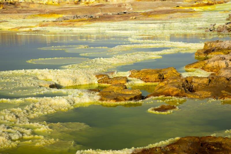 Dalol, депрессия Dankakil Вулканические горячие источники Эфиопии Вулкан земли Earth's самый низкий стоковое фото