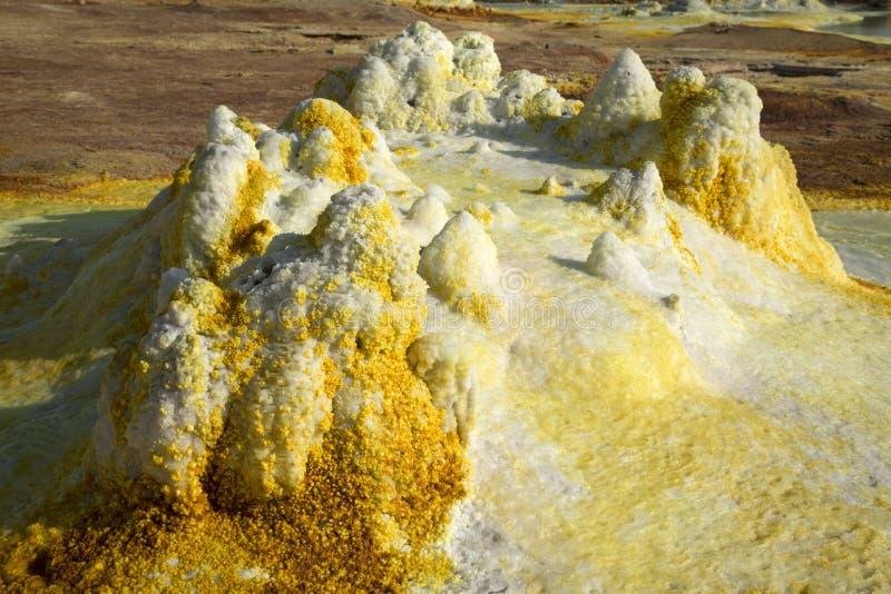 Dalol, депрессия Dankakil Вулканические горячие источники Эфиопии Вулкан земли Earth's самый низкий стоковое изображение