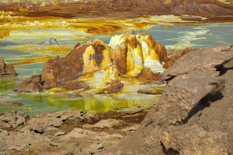 Dalol, депрессия Dankakil Вулканические горячие источники Эфиопии Вулкан земли Earth's самый низкий стоковая фотография