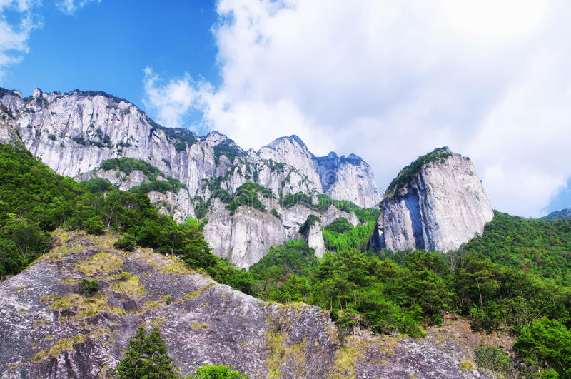 Dalong waterfall scenic area. The rocky cliffs of the dalong waterfall scenic area in Yandangshan within Zhejiang province china stock image