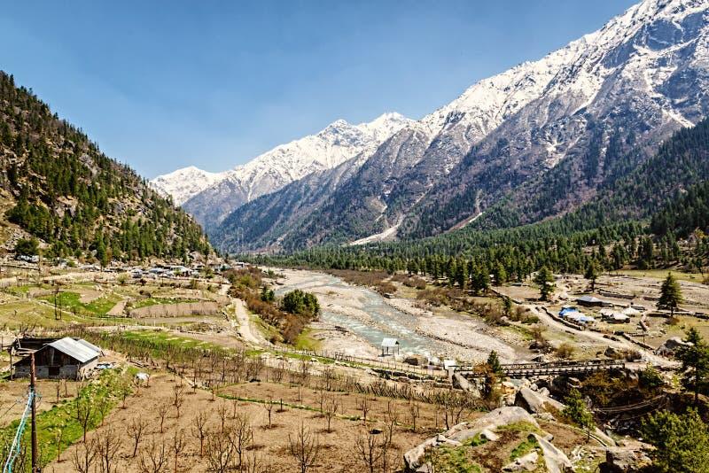 Dalsikt i Himalayas med floden och träbron Sangla royaltyfri foto