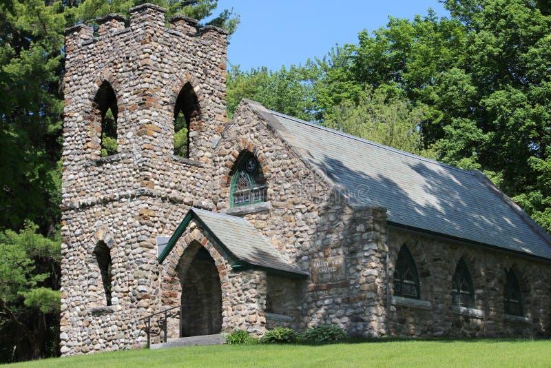 Dalsiktskapell - stenkyrka i Ticonderoga, NY arkivbilder