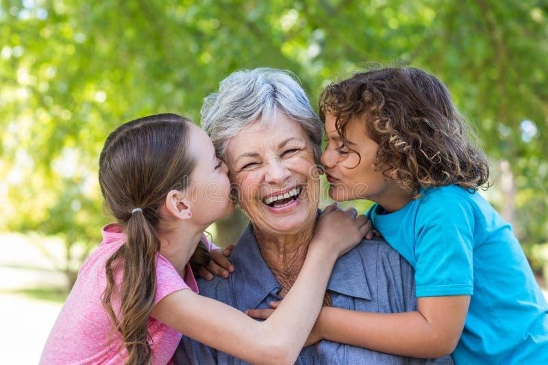 Dalsza rodzina ono uśmiecha się i całuje w parku obraz stock