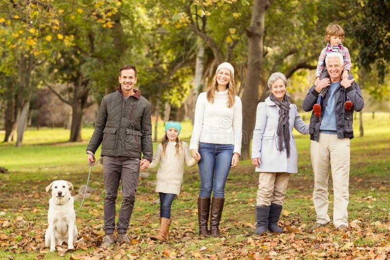 Dalsza rodzina pozuje z ciepłym odziewa zdjęcie royalty free