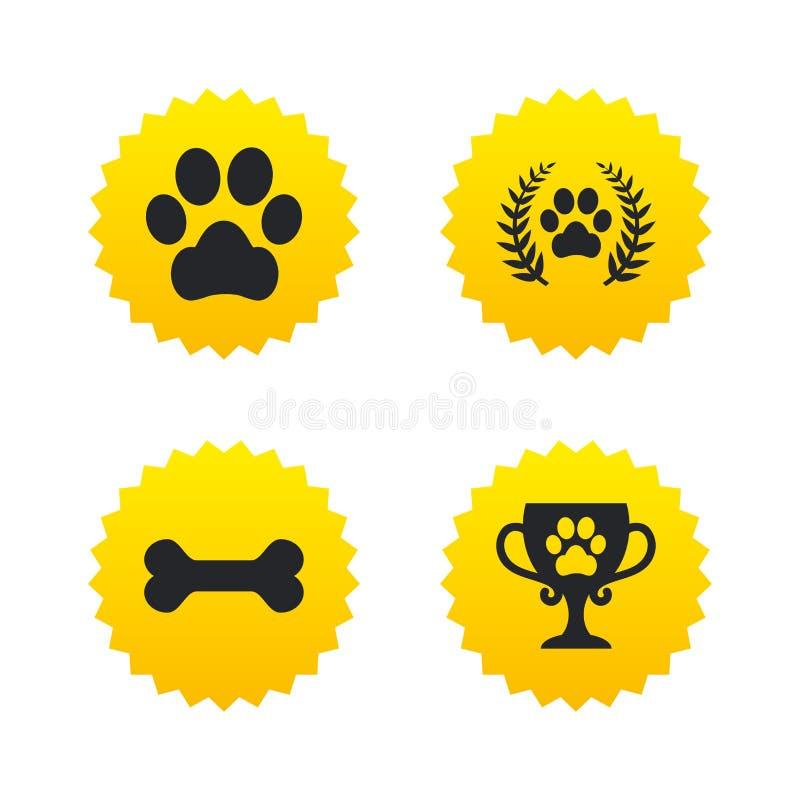 Daltar symboler Hunden tafsar tecknet Vinnarelagerkrans stock illustrationer