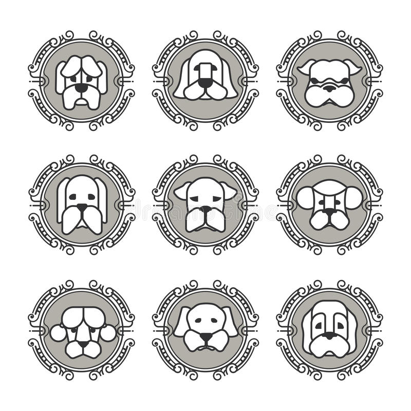 Daltar vektorsymboler - hundkapplöpningbeståndsdelar vektor illustrationer