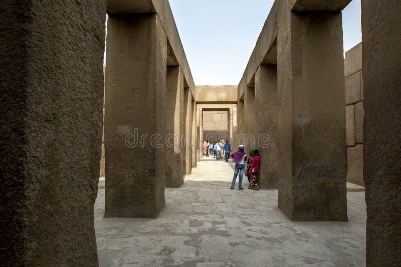 Daltemplet av Khafre på Giza i Egypten fotografering för bildbyråer