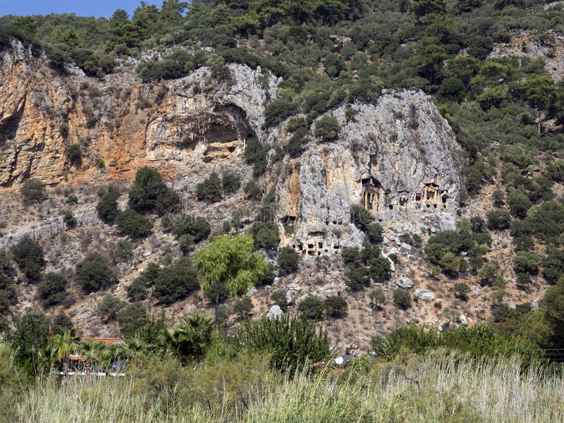 Dalyan河和Rocktombs, Kaunos费特希耶土耳其 库存照片